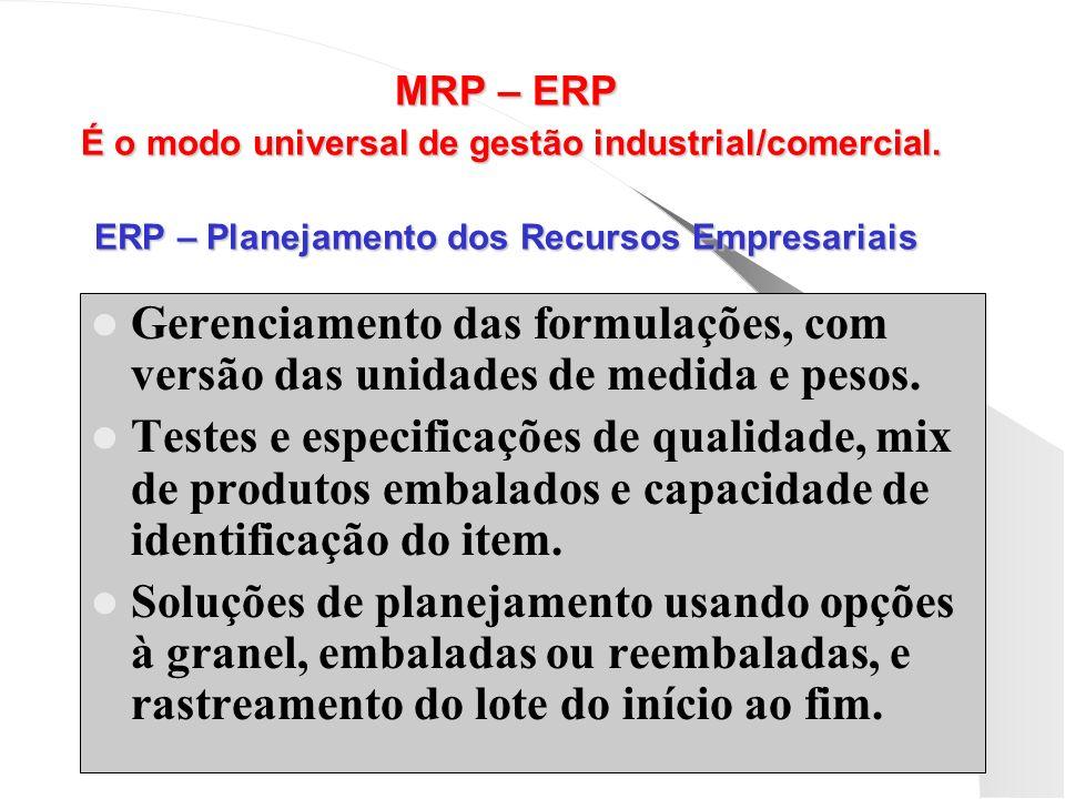 MRP – ERP É o modo universal de gestão industrial/comercial
