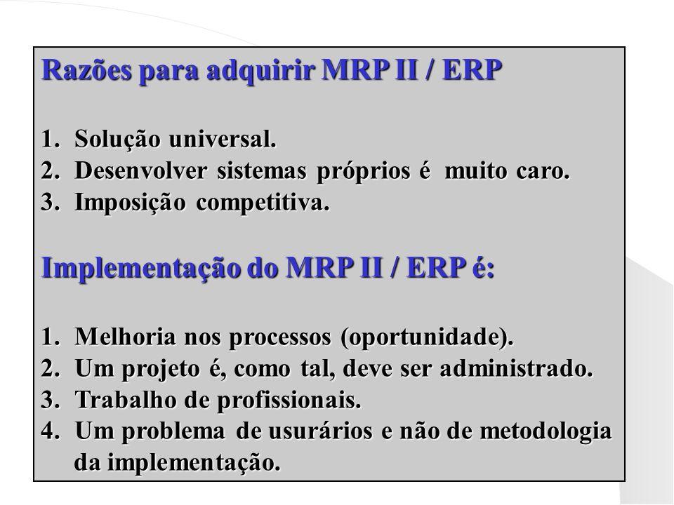 Razões para adquirir MRP II / ERP