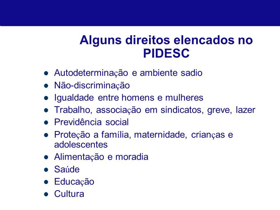 Alguns direitos elencados no PIDESC