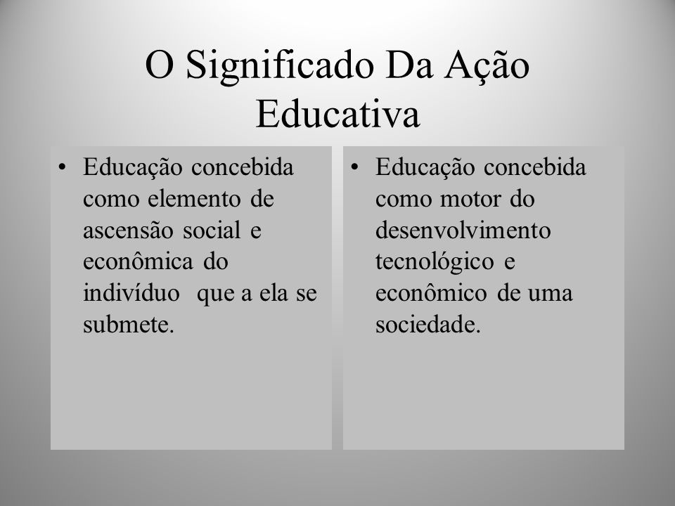 O Significado Da Ação Educativa