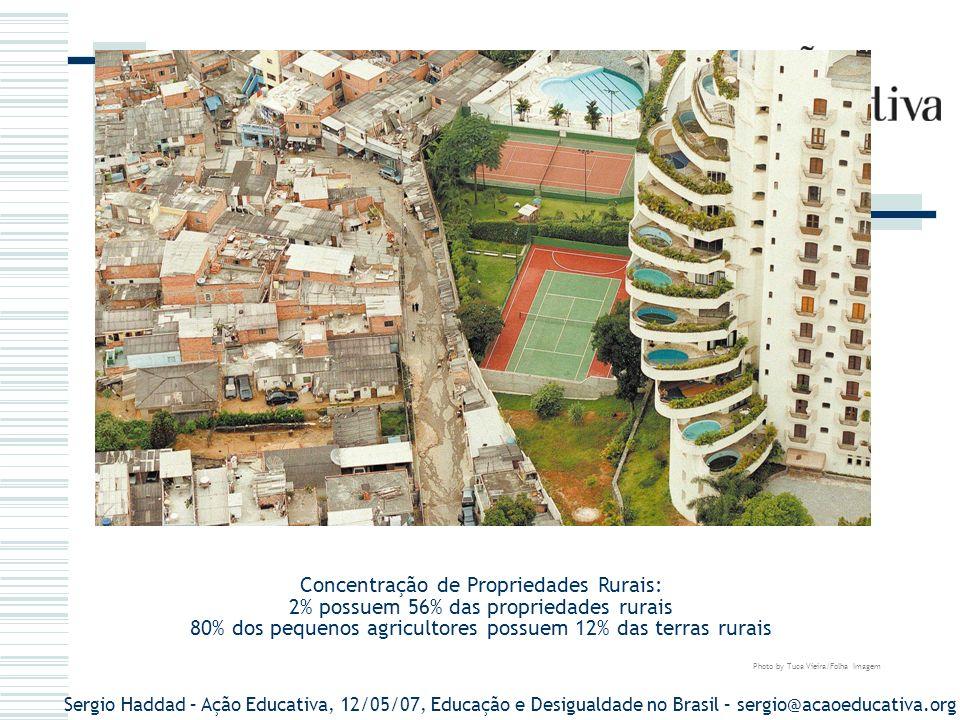 Concentração de Propriedades Rurais: 2% possuem 56% das propriedades rurais 80% dos pequenos agricultores possuem 12% das terras rurais Photo by Tuca Vieira/Folha Imagem