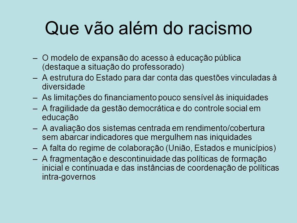 Que vão além do racismo O modelo de expansão do acesso à educação pública (destaque a situação do professorado)