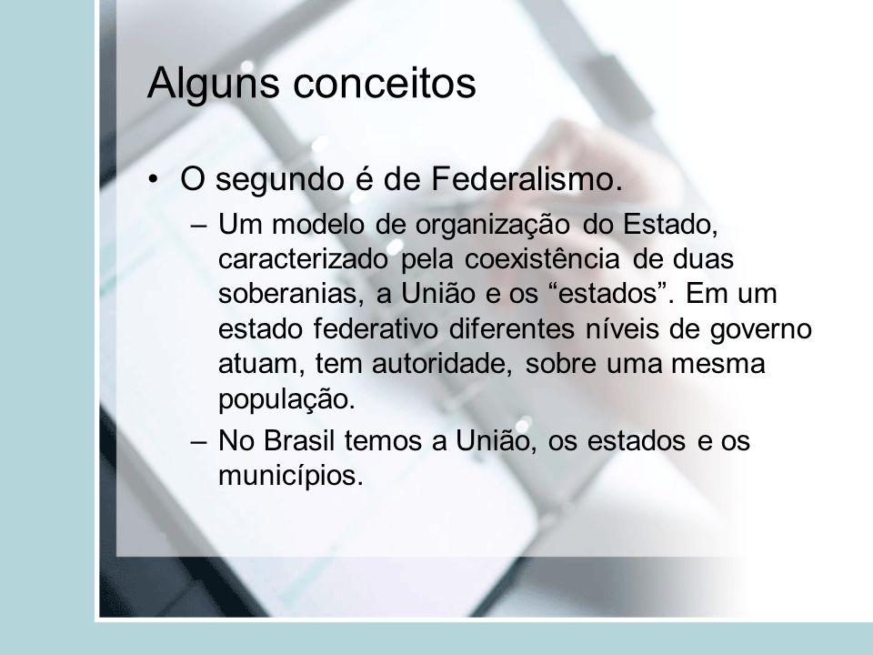 Alguns conceitos O segundo é de Federalismo.