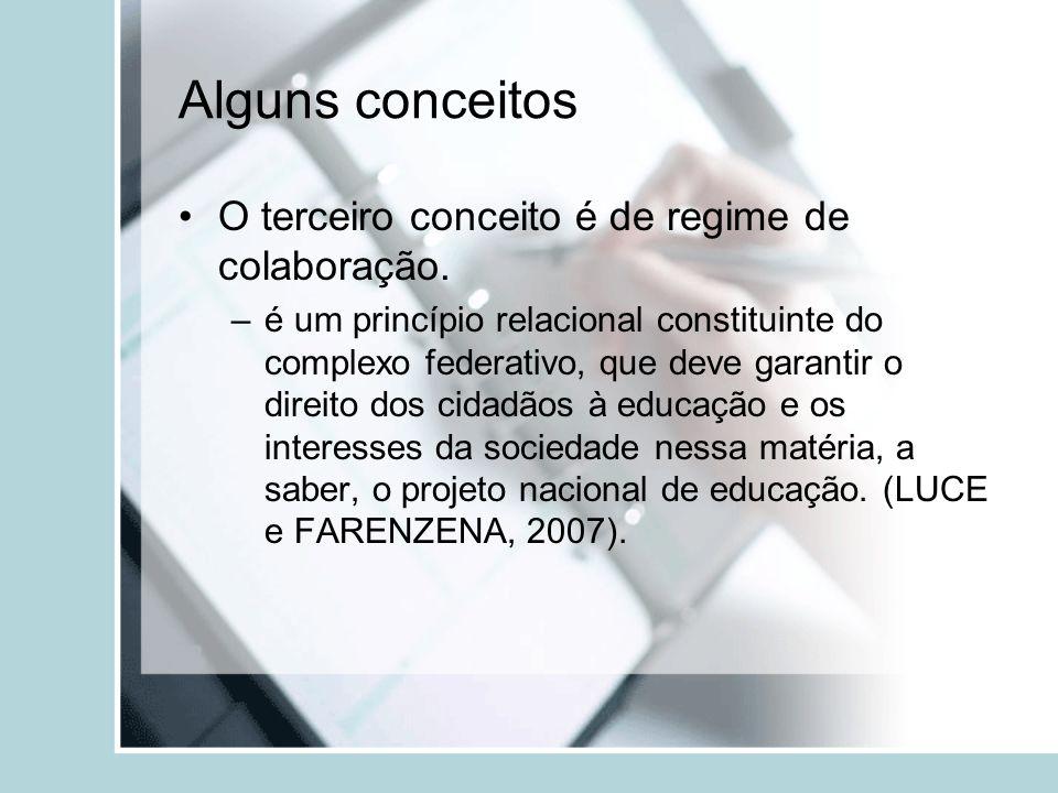 Alguns conceitos O terceiro conceito é de regime de colaboração.