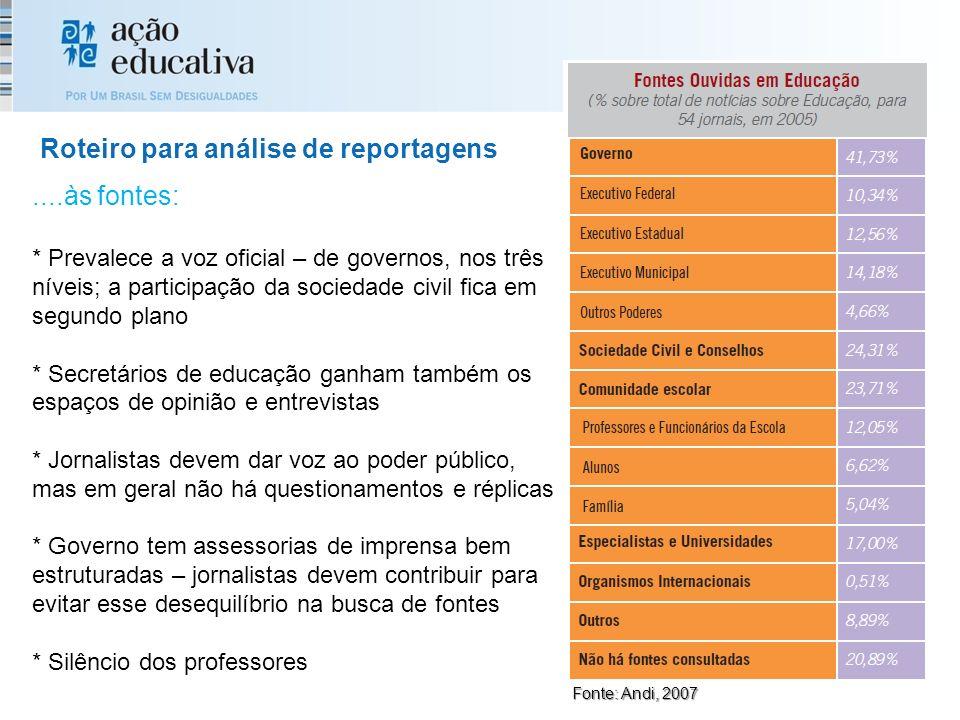Roteiro para análise de reportagens