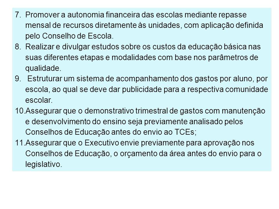 Promover a autonomia financeira das escolas mediante repasse mensal de recursos diretamente às unidades, com aplicação definida pelo Conselho de Escola.