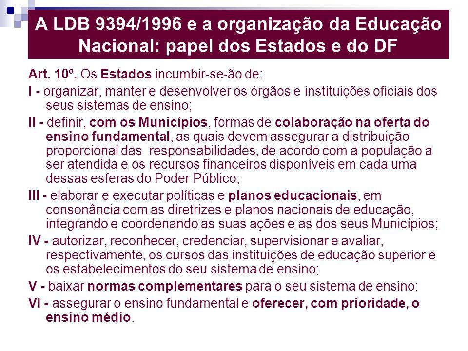A LDB 9394/1996 e a organização da Educação Nacional: papel dos Estados e do DF