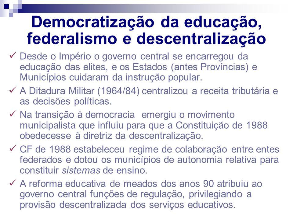 Democratização da educação, federalismo e descentralização