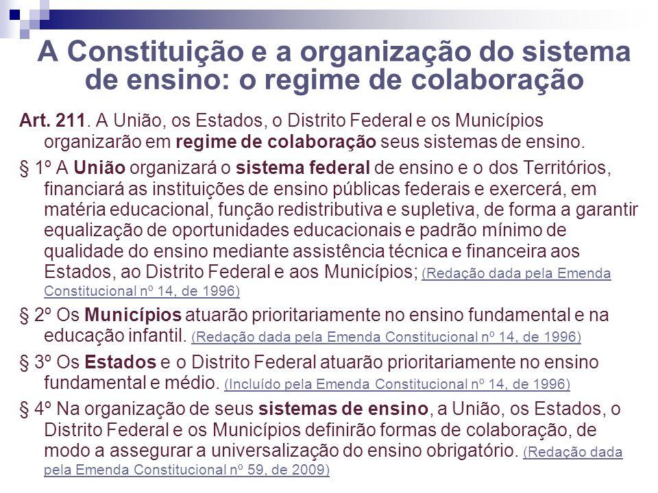 A Constituição e a organização do sistema de ensino: o regime de colaboração