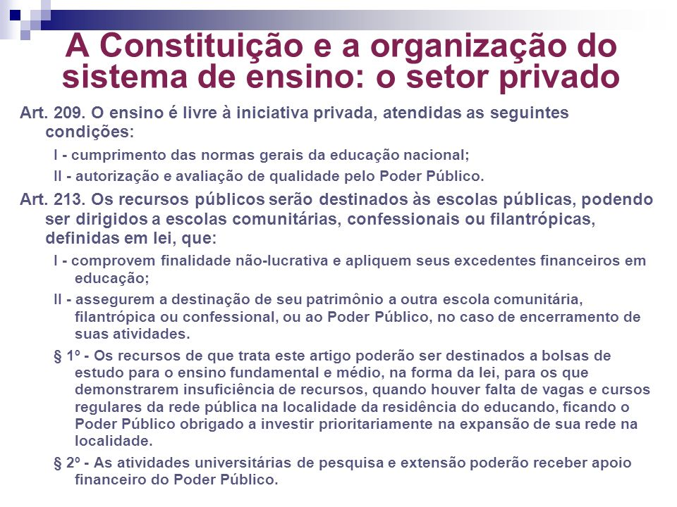 A Constituição e a organização do sistema de ensino: o setor privado