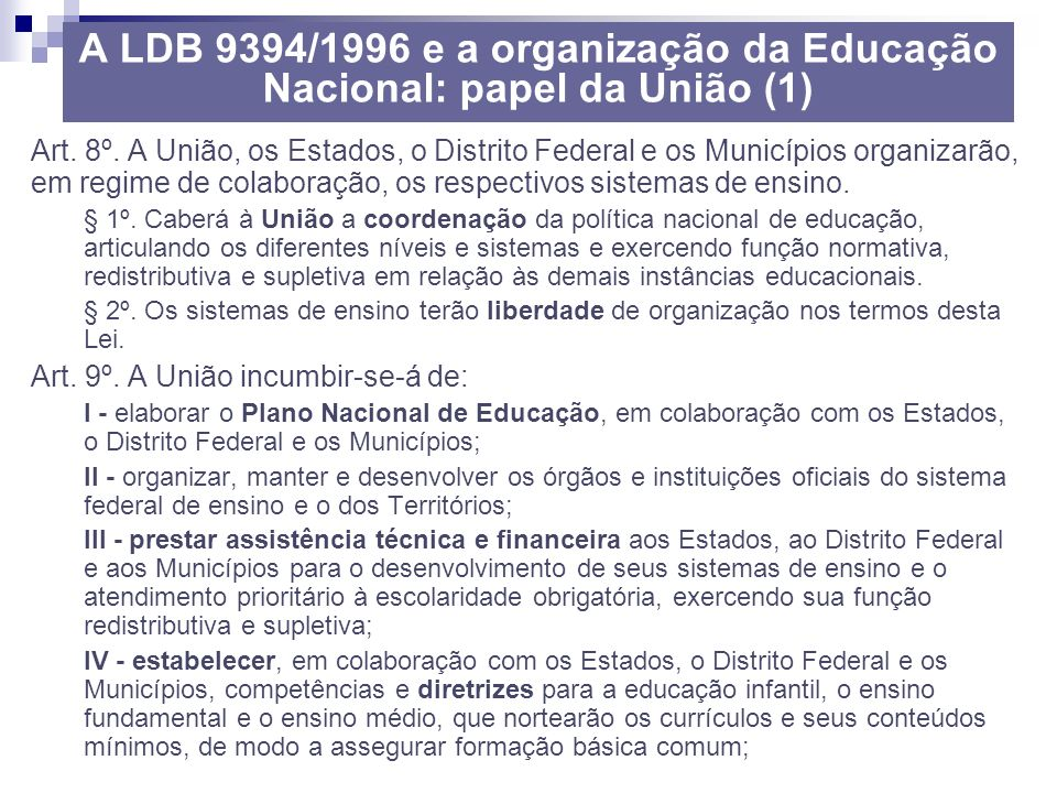 A LDB 9394/1996 e a organização da Educação Nacional: papel da União (1)