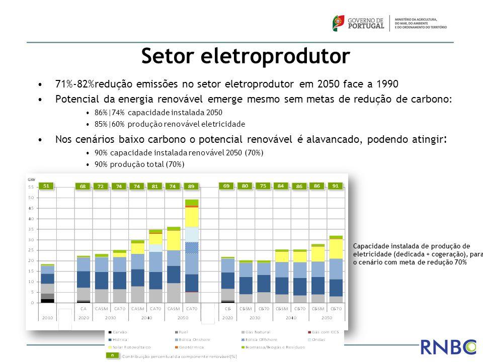 Setor eletroprodutor 71%-82%redução emissões no setor eletroprodutor em 2050 face a 1990.