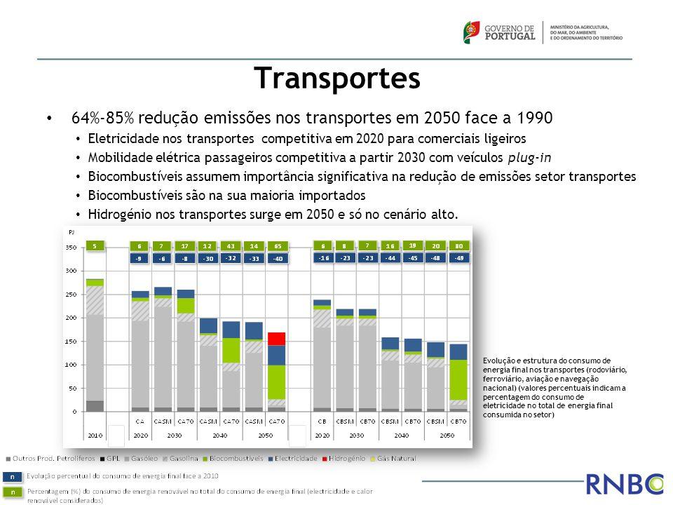 Transportes 64%-85% redução emissões nos transportes em 2050 face a 1990. Eletricidade nos transportes competitiva em 2020 para comerciais ligeiros.