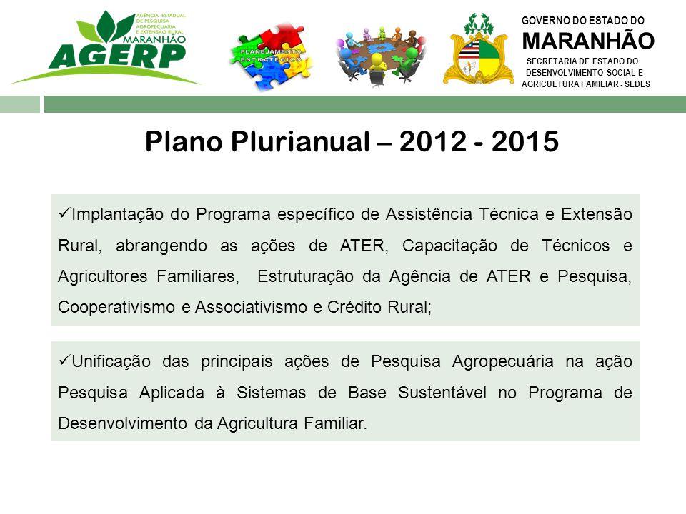 Plano Plurianual – 2012 - 2015 MARANHÃO