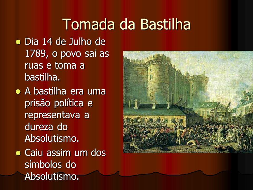 Tomada da Bastilha Dia 14 de Julho de 1789, o povo sai as ruas e toma a bastilha.