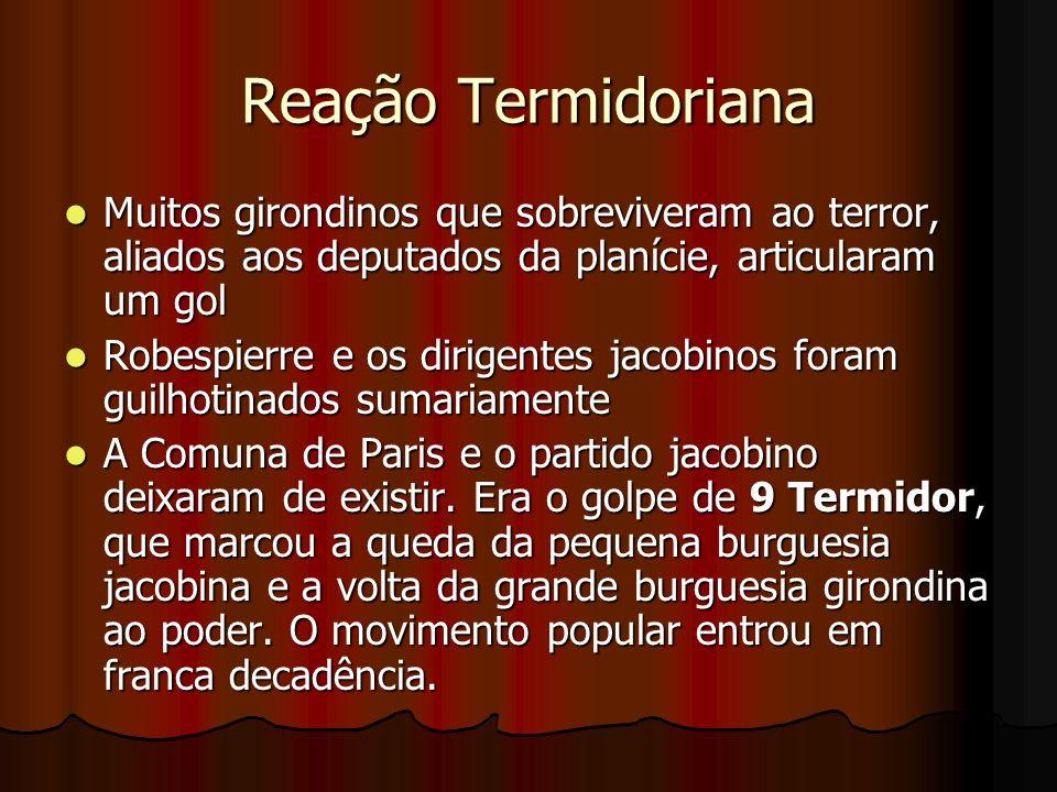 Reação Termidoriana Muitos girondinos que sobreviveram ao terror, aliados aos deputados da planície, articularam um gol.