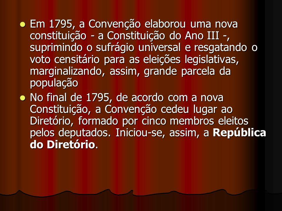 Em 1795, a Convenção elaborou uma nova constituição - a Constituição do Ano III -, suprimindo o sufrágio universal e resgatando o voto censitário para as eleições legislativas, marginalizando, assim, grande parcela da população