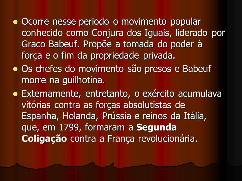 Ocorre nesse periodo o movimento popular conhecido como Conjura dos Iguais, liderado por Graco Babeuf. Propõe a tomada do poder à força e o fim da propriedade privada.