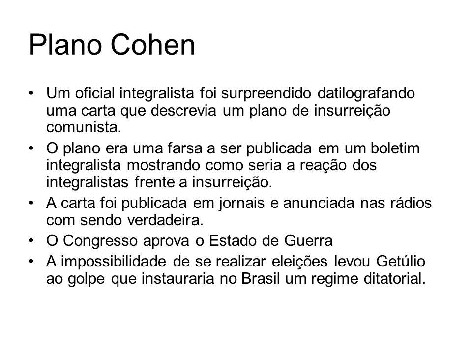 Plano Cohen Um oficial integralista foi surpreendido datilografando uma carta que descrevia um plano de insurreição comunista.