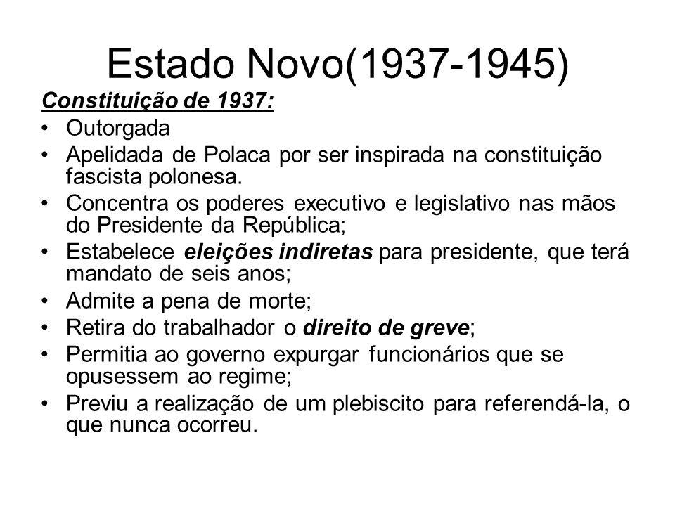 Estado Novo(1937-1945) Constituição de 1937: Outorgada