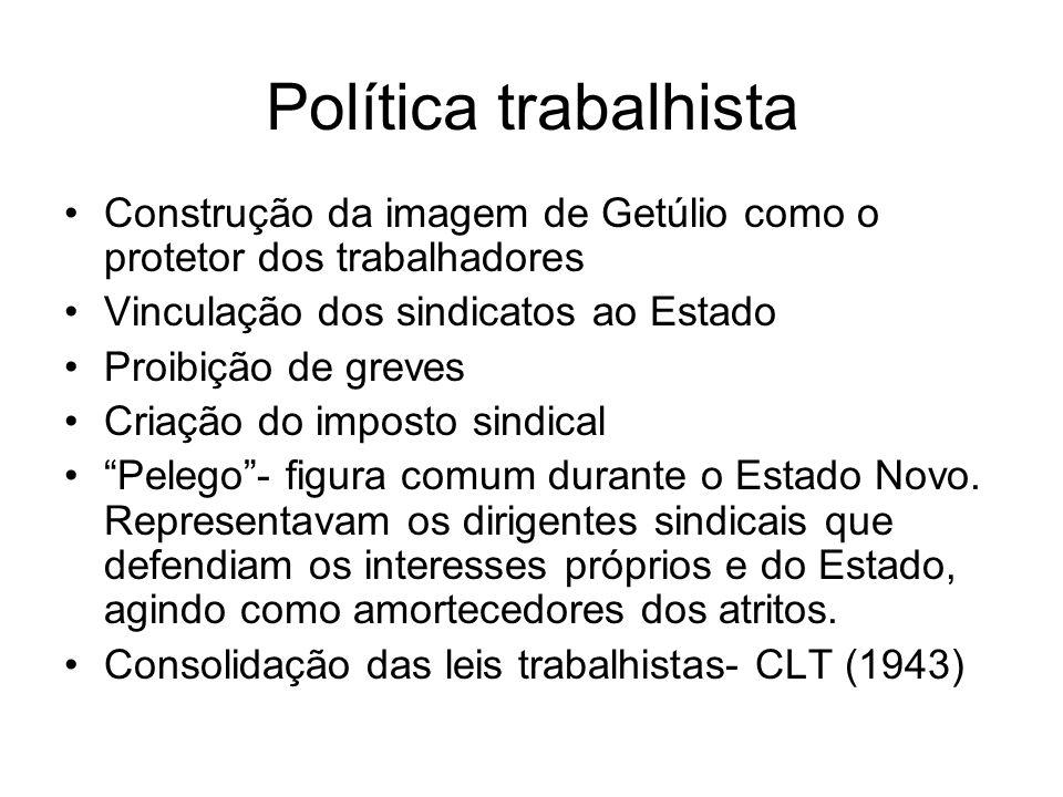 Política trabalhista Construção da imagem de Getúlio como o protetor dos trabalhadores. Vinculação dos sindicatos ao Estado.