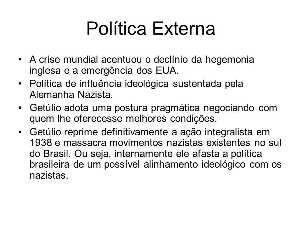 Política Externa A crise mundial acentuou o declínio da hegemonia inglesa e a emergência dos EUA.