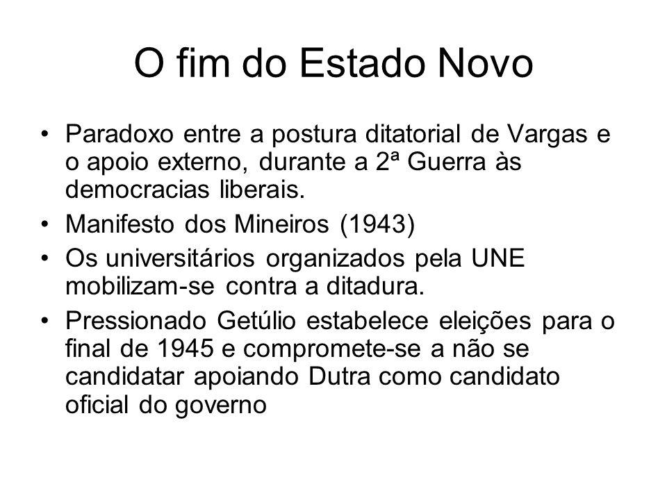 O fim do Estado Novo Paradoxo entre a postura ditatorial de Vargas e o apoio externo, durante a 2ª Guerra às democracias liberais.