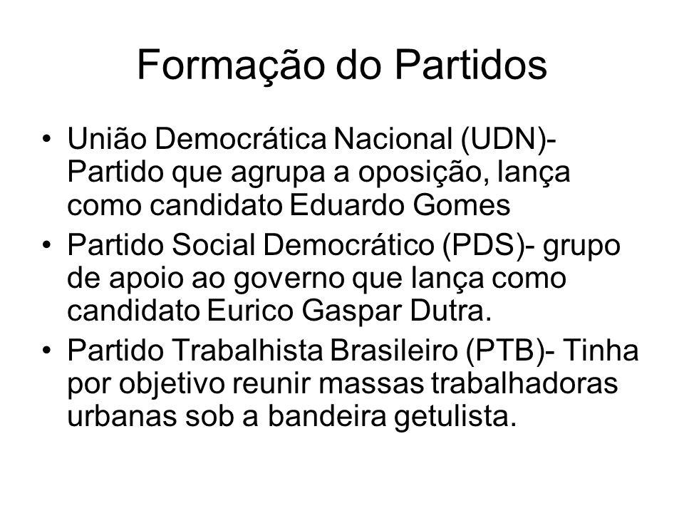 Formação do PartidosUnião Democrática Nacional (UDN)- Partido que agrupa a oposição, lança como candidato Eduardo Gomes.