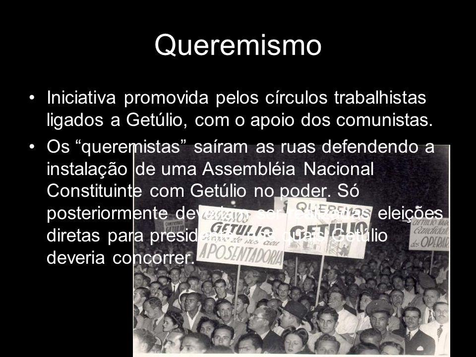 QueremismoIniciativa promovida pelos círculos trabalhistas ligados a Getúlio, com o apoio dos comunistas.