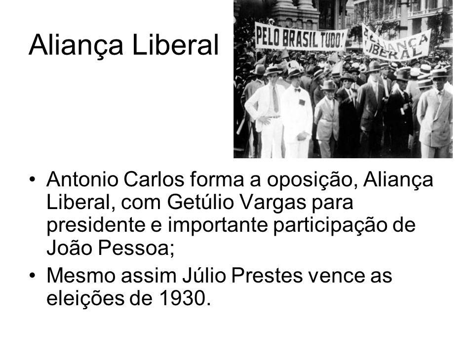 Aliança Liberal Antonio Carlos forma a oposição, Aliança Liberal, com Getúlio Vargas para presidente e importante participação de João Pessoa;