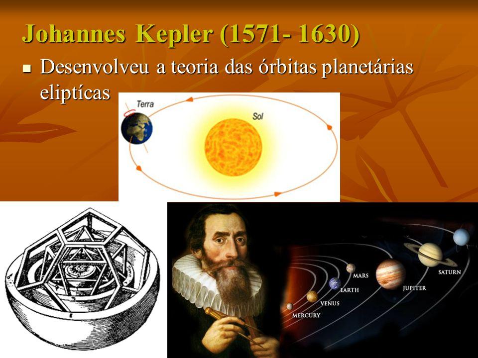 Johannes Kepler (1571- 1630) Desenvolveu a teoria das órbitas planetárias eliptícas