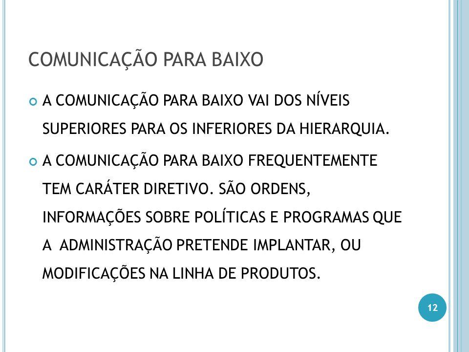 COMUNICAÇÃO PARA BAIXO