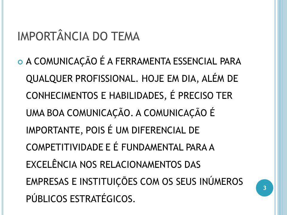 IMPORTÂNCIA DO TEMA