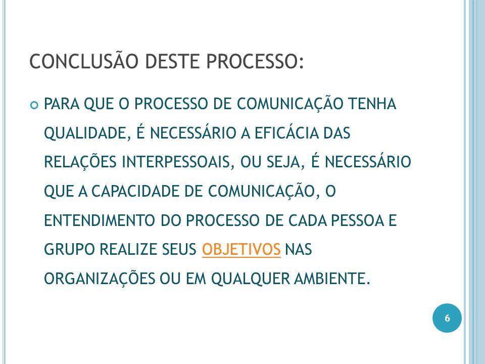 CONCLUSÃO DESTE PROCESSO: