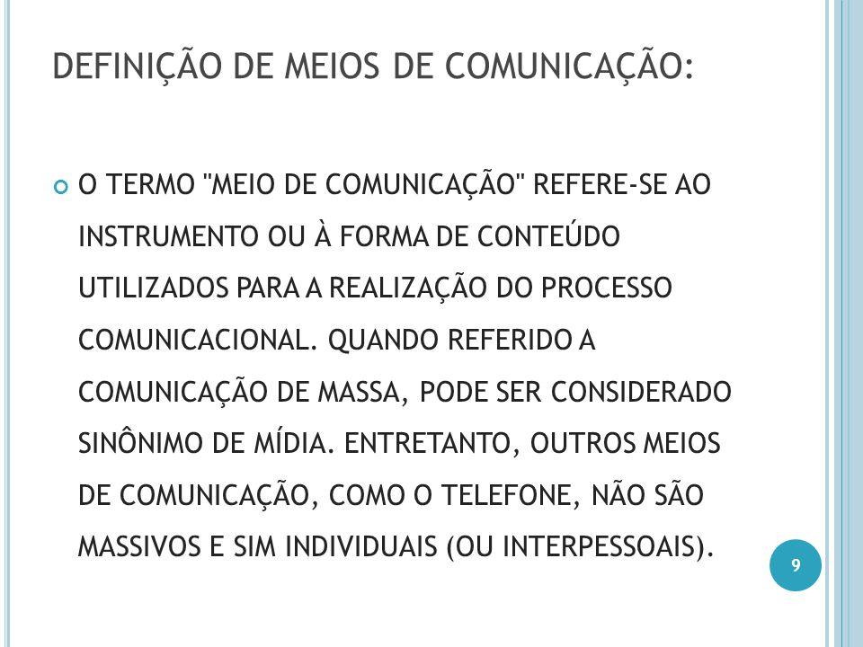 DEFINIÇÃO DE MEIOS DE COMUNICAÇÃO: