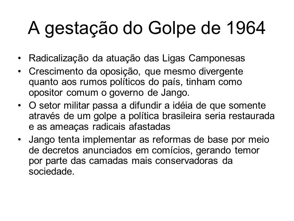 A gestação do Golpe de 1964 Radicalização da atuação das Ligas Camponesas.
