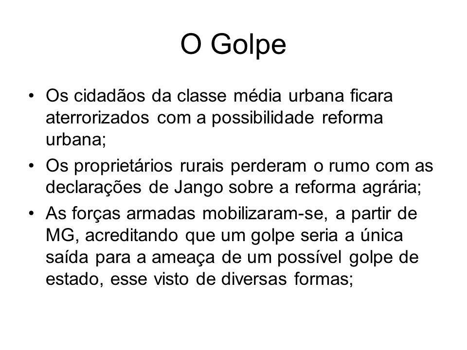 O GolpeOs cidadãos da classe média urbana ficara aterrorizados com a possibilidade reforma urbana;