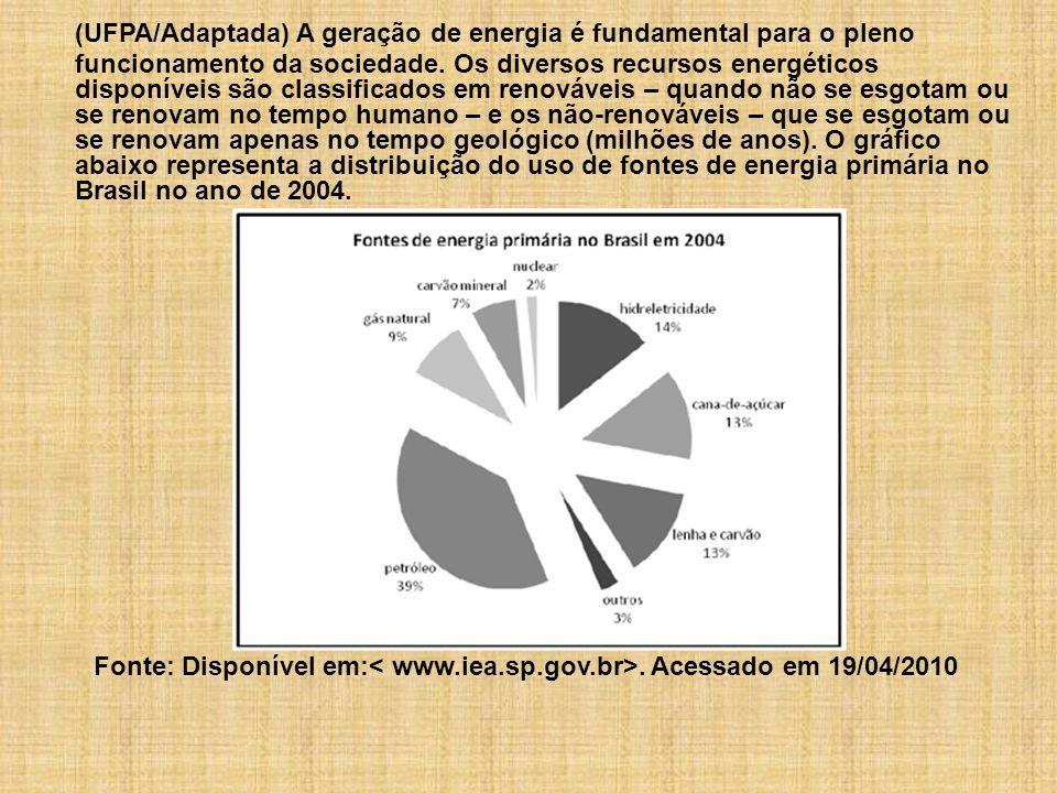 (UFPA/Adaptada) A geração de energia é fundamental para o pleno funcionamento da sociedade. Os diversos recursos energéticos disponíveis são classificados em renováveis – quando não se esgotam ou se renovam no tempo humano – e os não-renováveis – que se esgotam ou se renovam apenas no tempo geológico (milhões de anos). O gráfico abaixo representa a distribuição do uso de fontes de energia primária no Brasil no ano de 2004.