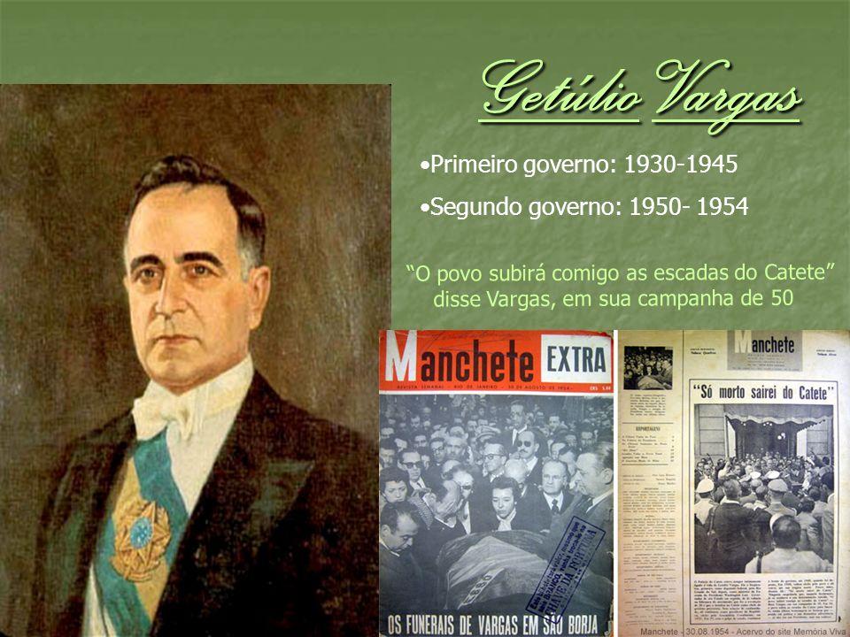 Getúlio Vargas Primeiro governo: 1930-1945 Segundo governo: 1950- 1954