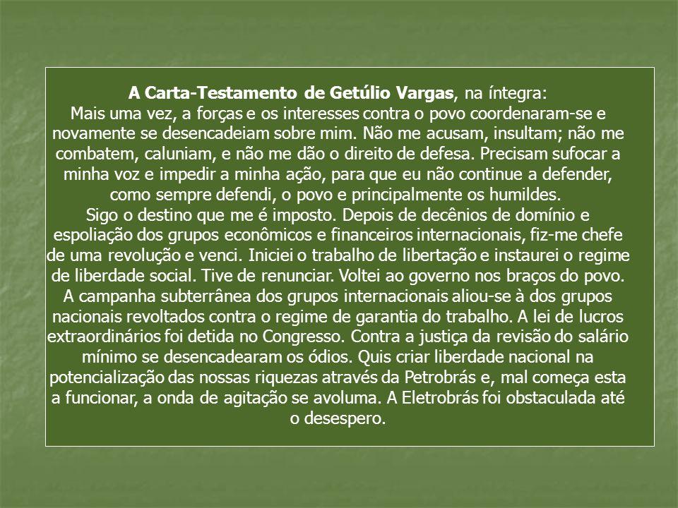 A Carta-Testamento de Getúlio Vargas, na íntegra: