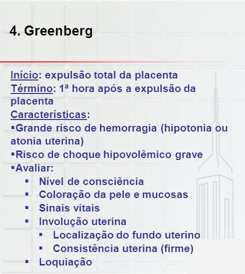 4. Greenberg Início: expulsão total da placenta