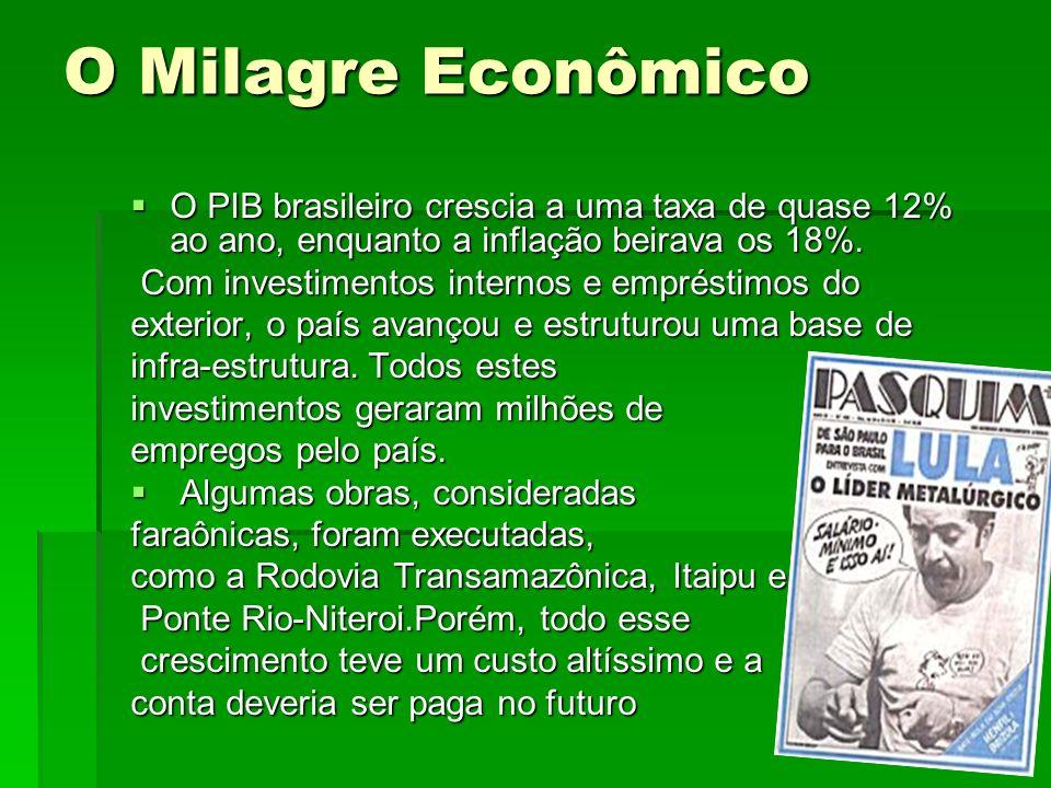 O Milagre Econômico O PIB brasileiro crescia a uma taxa de quase 12% ao ano, enquanto a inflação beirava os 18%.