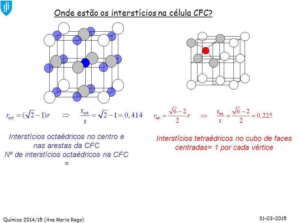 Onde estão os interstícios na célula CFC