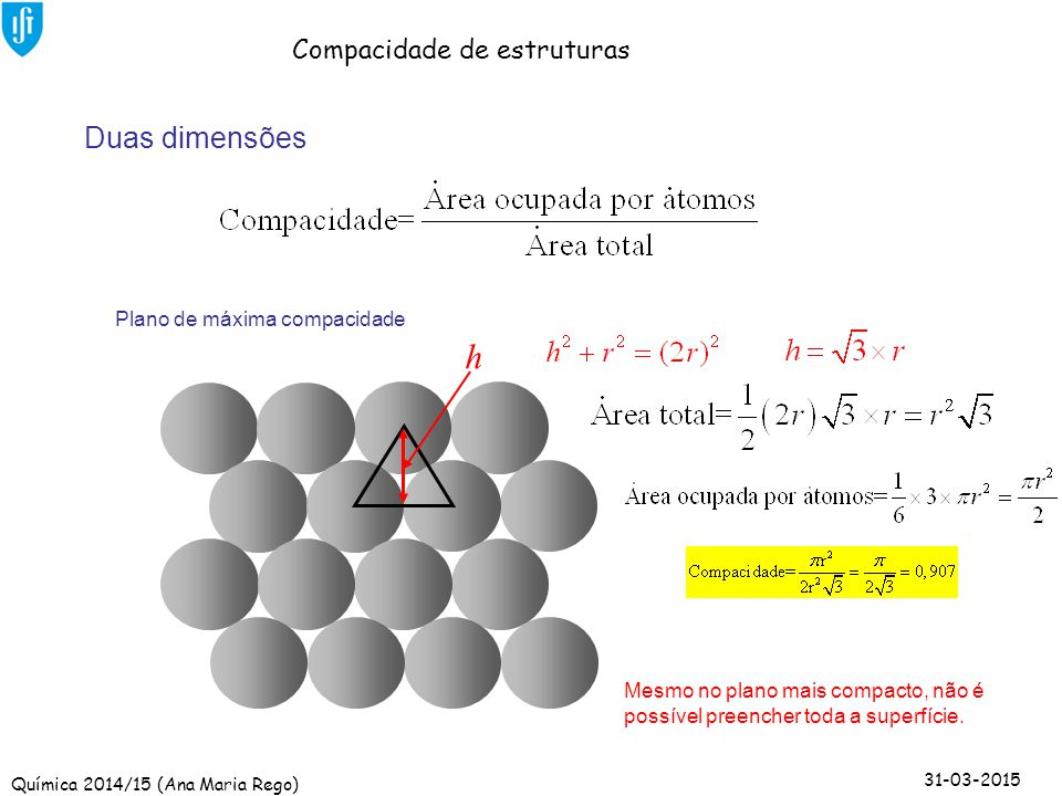 h Duas dimensões Compacidade de estruturas Plano de máxima compacidade