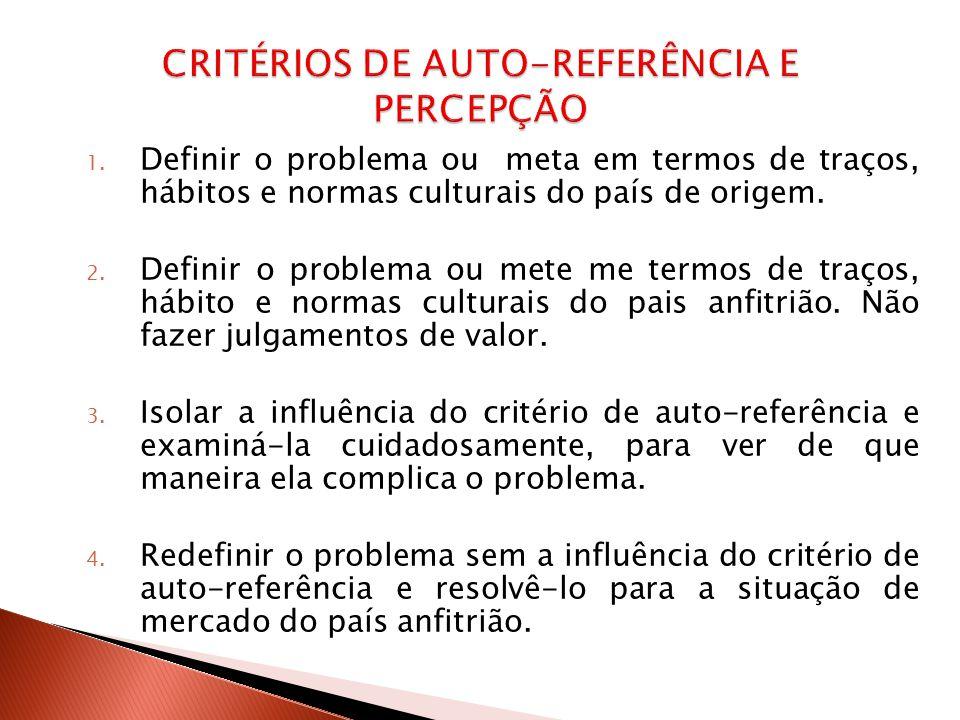 CRITÉRIOS DE AUTO-REFERÊNCIA E PERCEPÇÃO