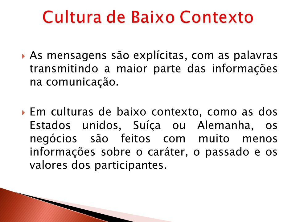 Cultura de Baixo Contexto
