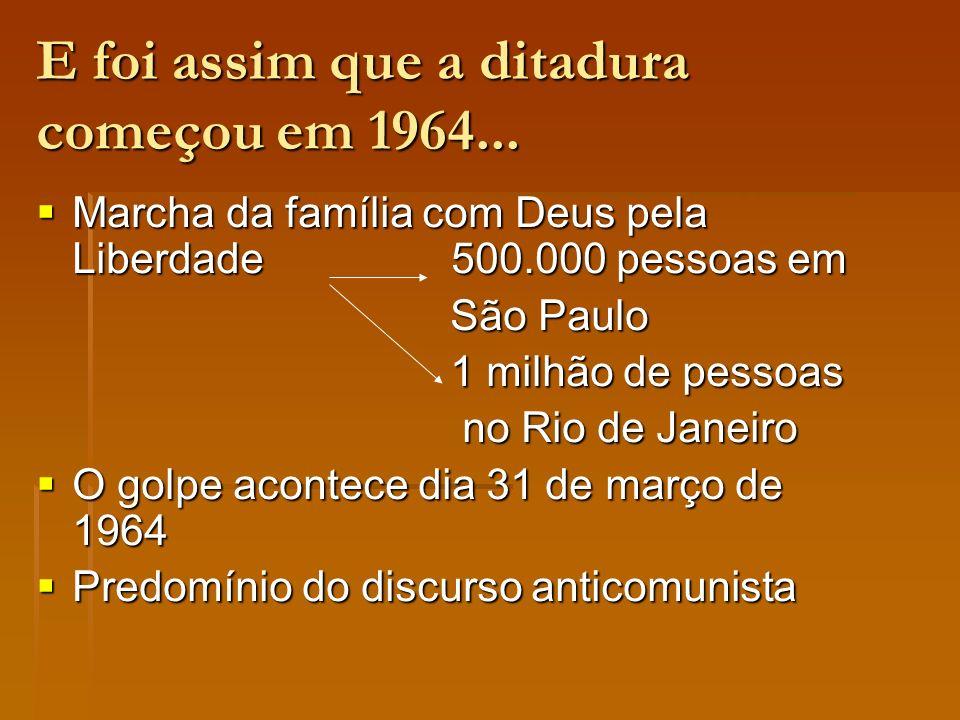 E foi assim que a ditadura começou em 1964...
