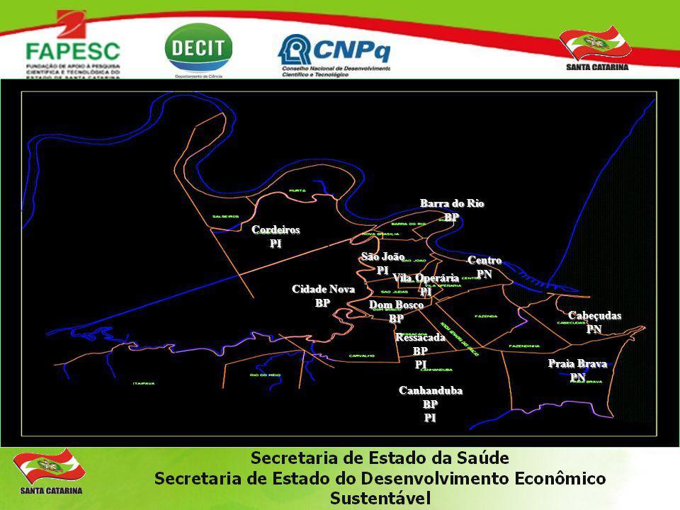 Barra do Rio BP. Cordeiros. PI. São João. PI. Centro. PN. Vila Operária. PI. Cidade Nova. BP.