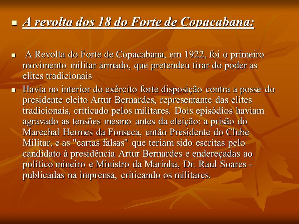 A revolta dos 18 do Forte de Copacabana: