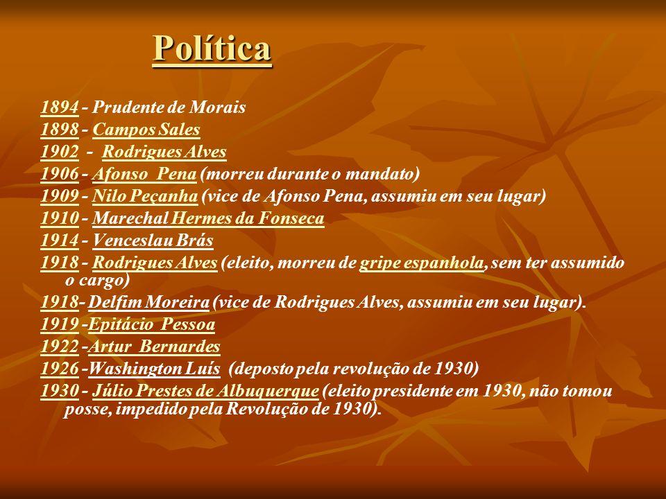 Política 1894 - Prudente de Morais 1898 - Campos Sales
